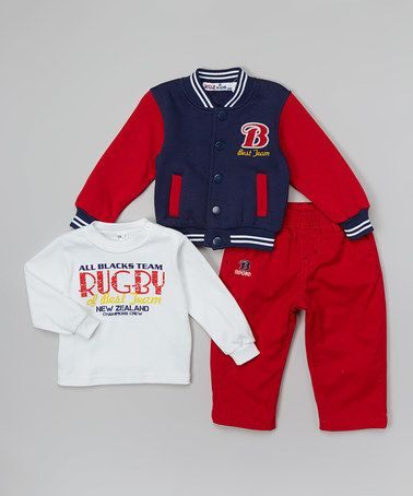 Take a look at this Navy & Red Varsity Jacket Set - Infant on zulily today!