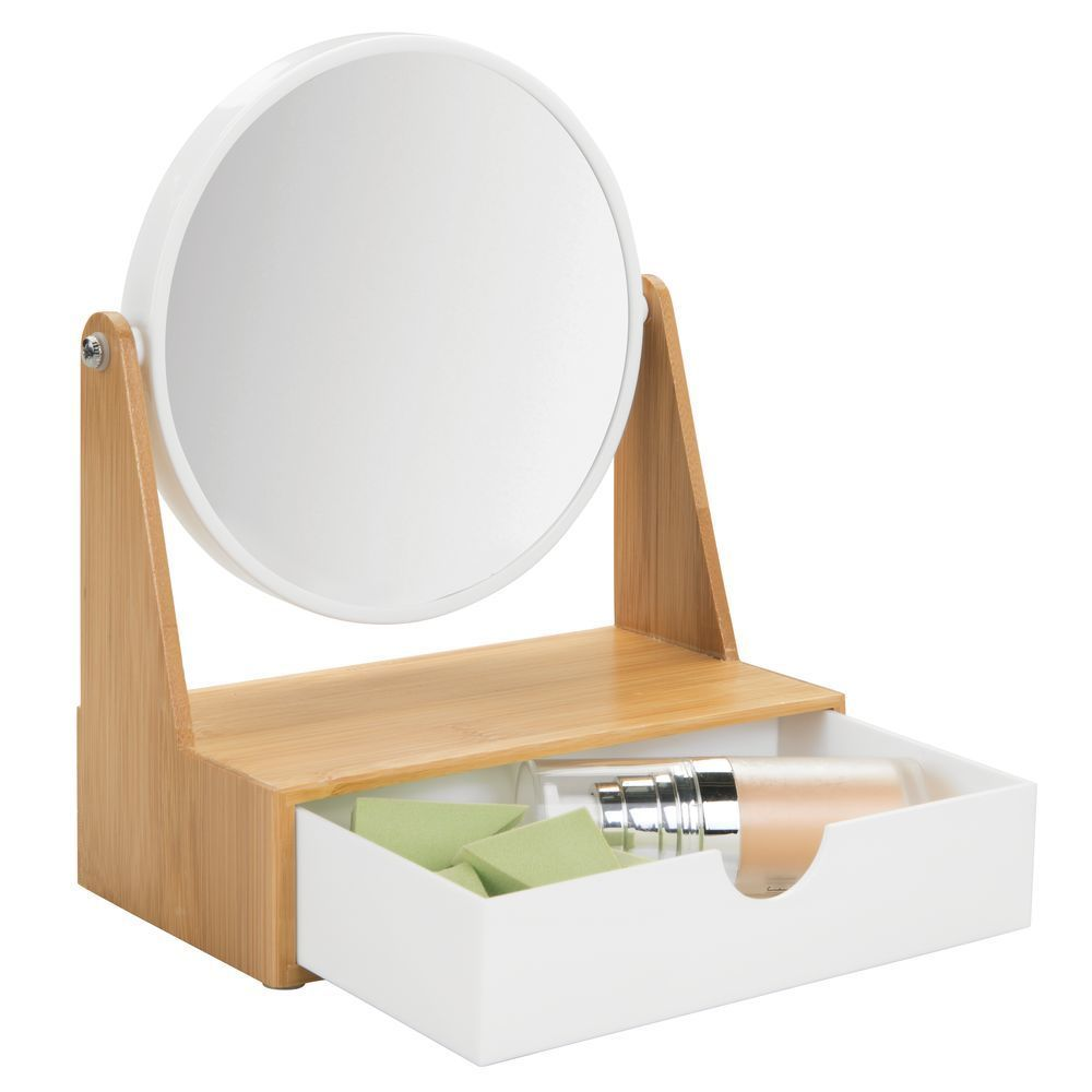 Round Bamboo Bathroom Vanity Magnifying Mirror with Drawer ...