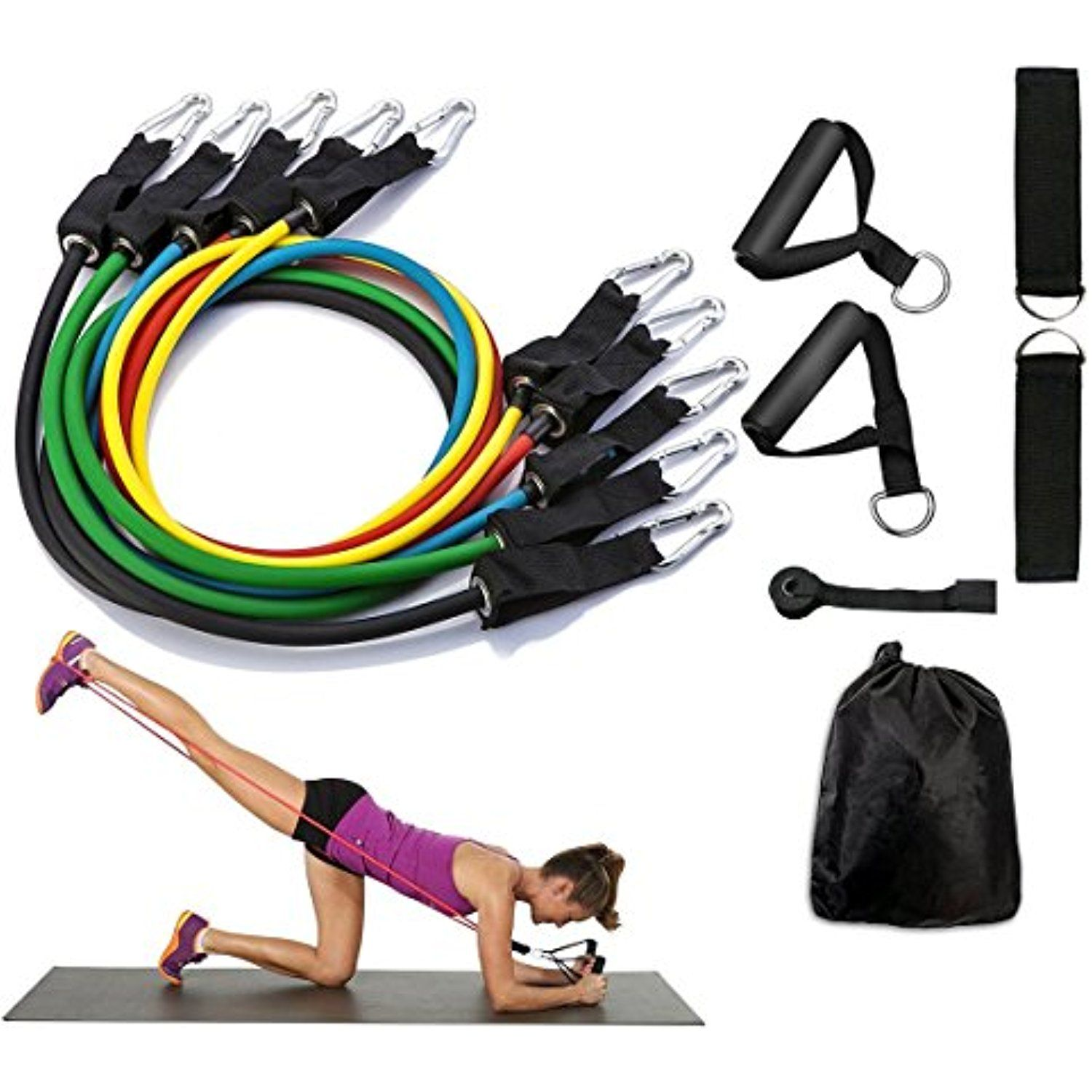 Resistance Band Set With Handles Include 5 Adjustable Exercise Bands Door Anchor Ankle Straps For Resistance Band Workout Resistance Band Set Resistance Band