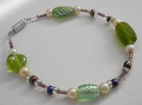 Original, Handmade Faux Pearl and Glass, Seed and Bugle Beads with Barrel Clasp  Size - 7 1/2""