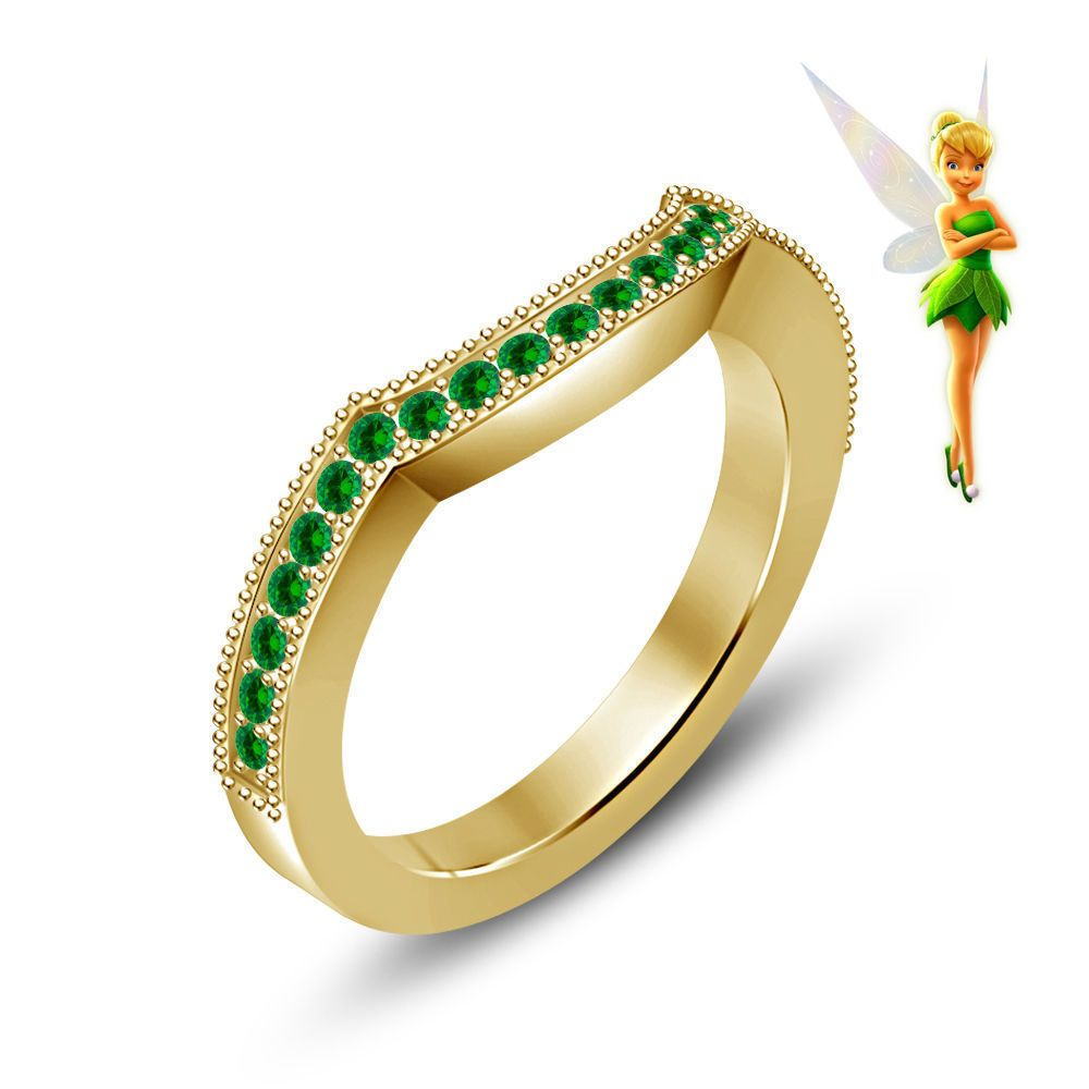 disney wedding bands 14k Yellow Gold Plated Silver Disney Tinker Bell Fairies Wedding Band Ring