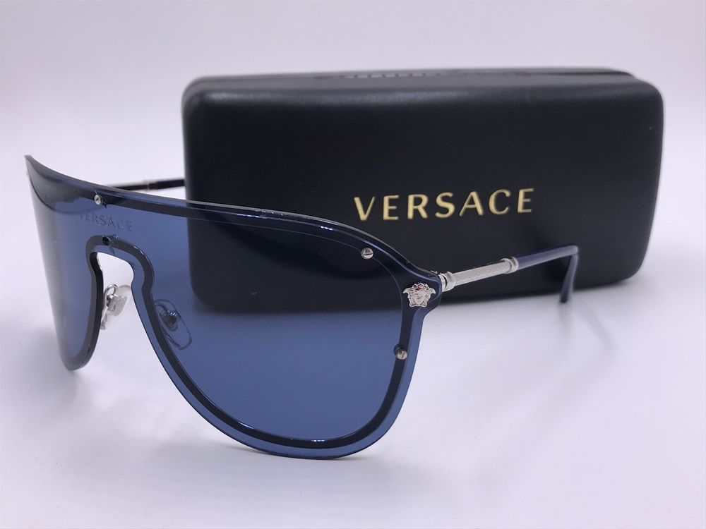 2dbfb5aeac VERSACE MOD.2180 1000 80 BLUE  SILVER Medusa Sunglasses SHIELD AUTHENTIC   fashion  clothing  shoes  accessories  unisexclothingshoesaccs   unisexaccessories ...