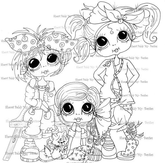 INSTANT DOWNLOAD Digital Digi Stamps Big Eye Big Head Dolls Messy Bessy Three Little Sister My Besties By Sherri Baldy