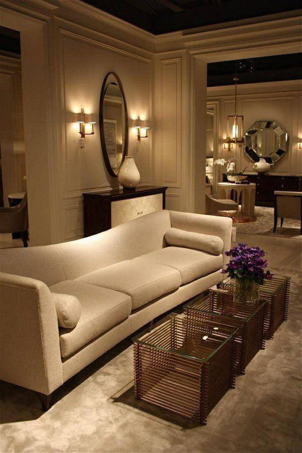 Einrichtungsideen Im Wohnzimmer Weißes Sofa Deko Tische Spiegel