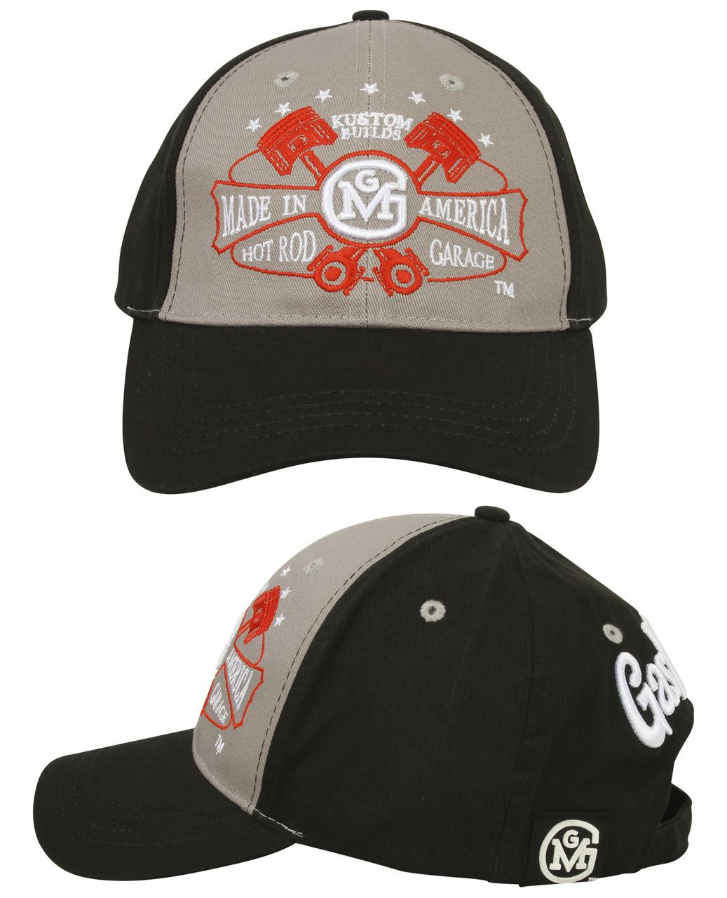 Black and Grey 'Made in America' cap from Gas Monkey Garage with  embroidered front