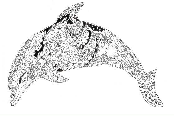 dolphin mandala zentangle dibujos mandalas delfines. Black Bedroom Furniture Sets. Home Design Ideas
