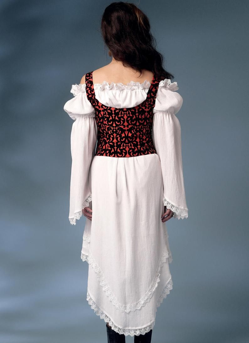 Misses jacket puff sleeve dresses and underbust vest wench