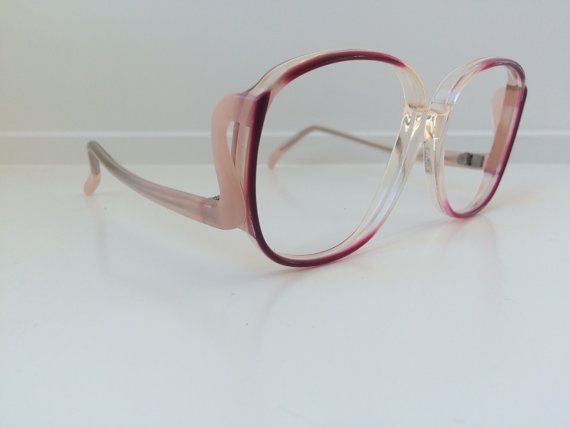 Vintage Pink Eyeglass Frames - Oversized Eyeglasses - Light Pink ...