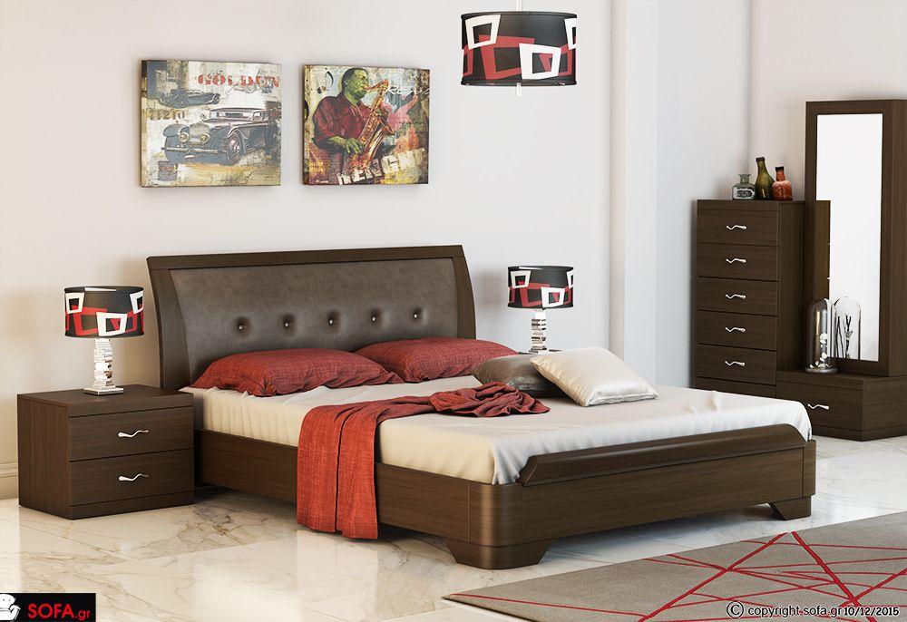 Krebatokamara Set No 119 Se Kataskeyh Drys To Synolo Ths Krebatokamaras Einai Mia Monterna Dhmioyrgi Bed Furniture Design Bedroom Bed Design Bed Design Modern