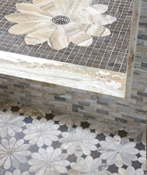 Flower Design On Shower Base And Bathroom Floor Floor Tile