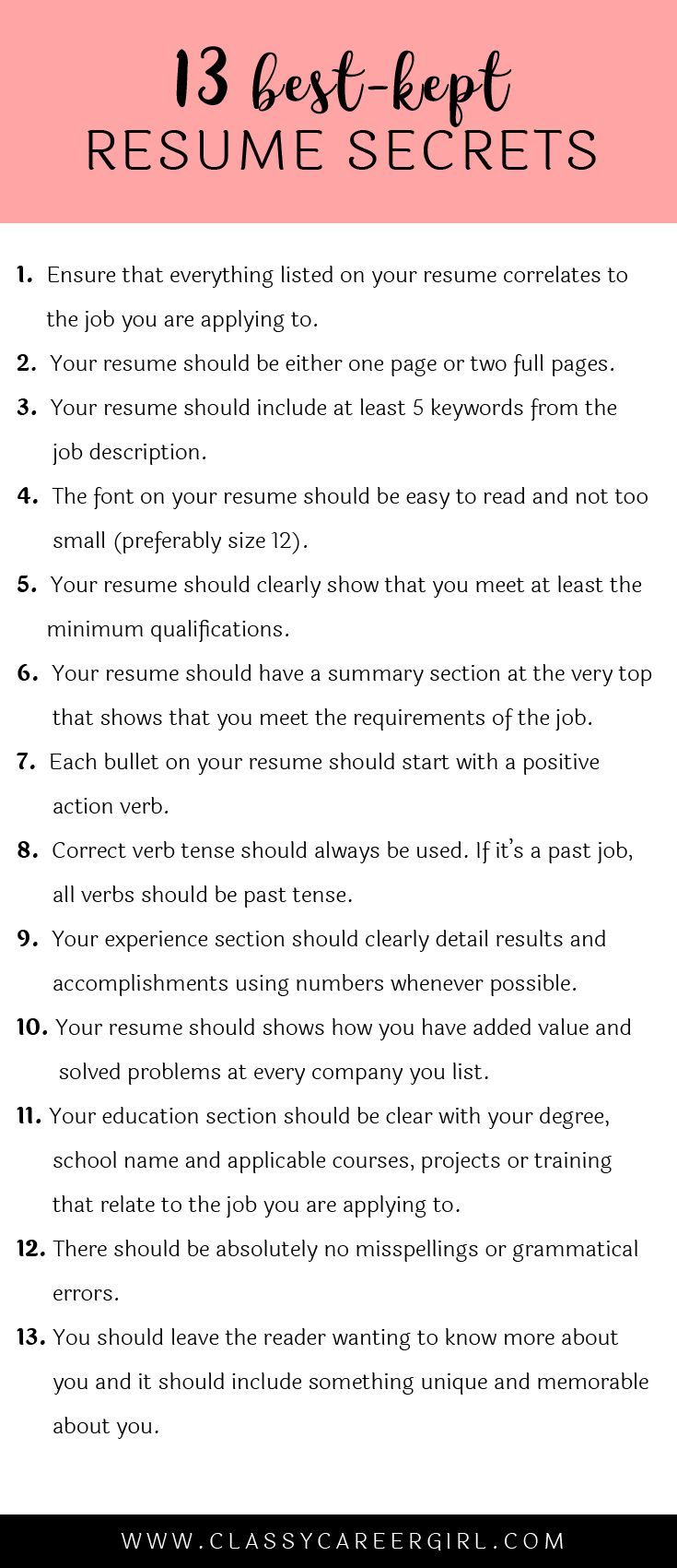 The 13 Best Kept Resume Secrets Job Search Resume Tips