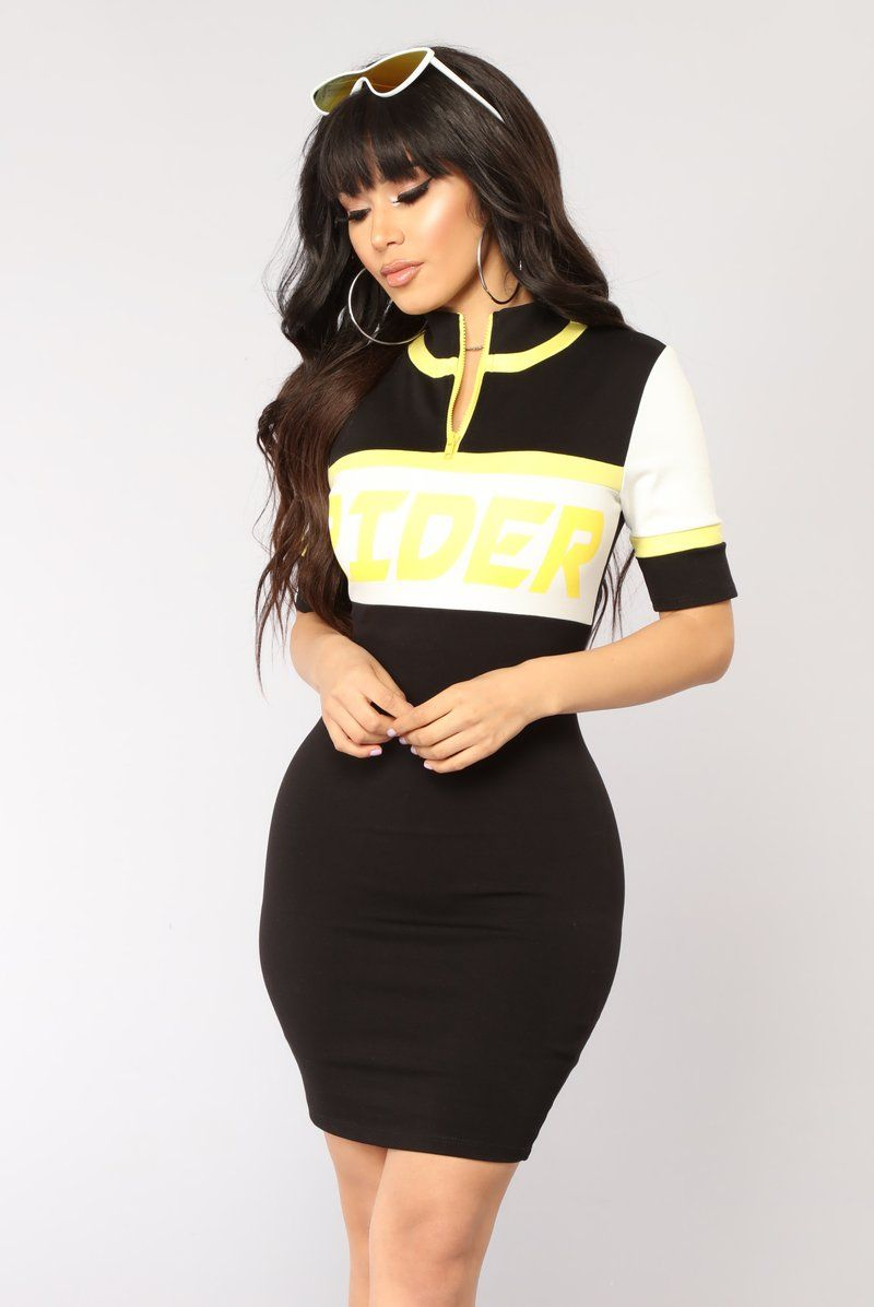Rider colorblock dress blackyellow letus just say i canut find