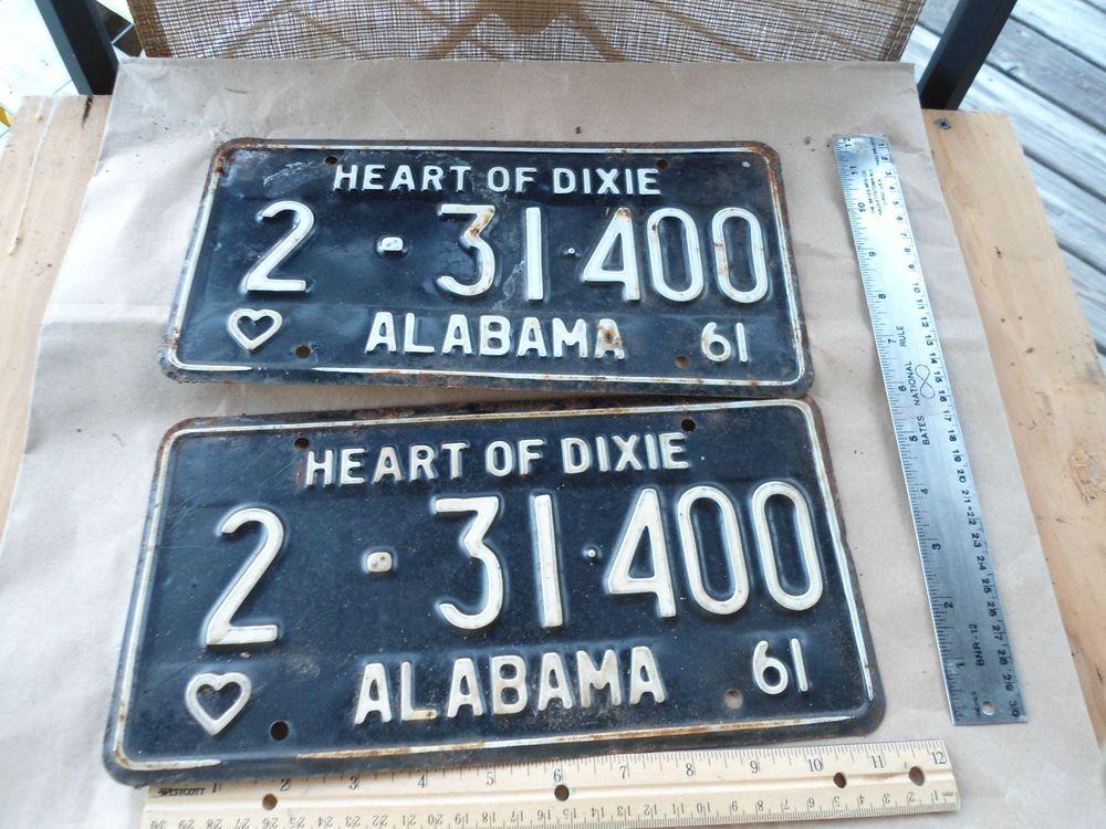 1961 61 ALABAMA AL Vintage Car Tag License Plate Heart of Dixie 1961 ...