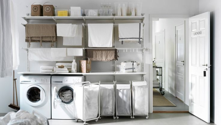 Space Saving Racks Adding Eco Accents To Laundry Room Design Buanderies Amenagement Buanderie Buanderie Ikea
