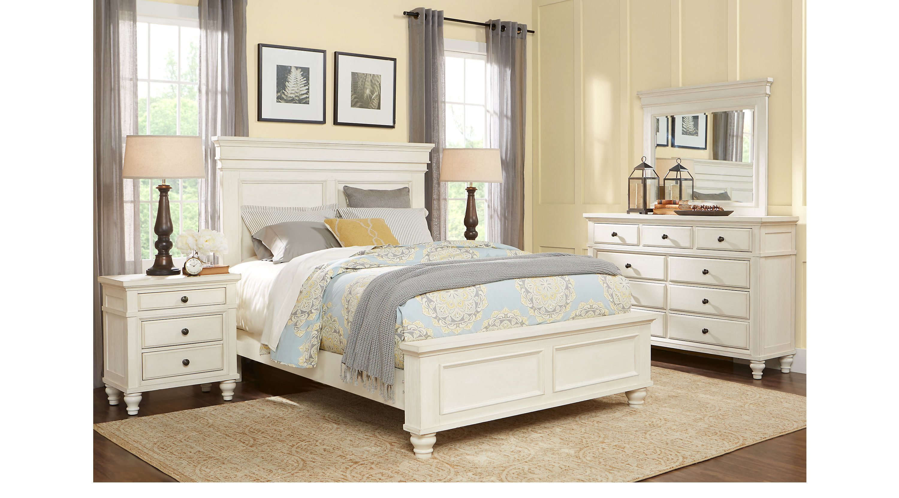 Lake Town Off White 5 Pc King Panel Bedroom King Bedroom Sets