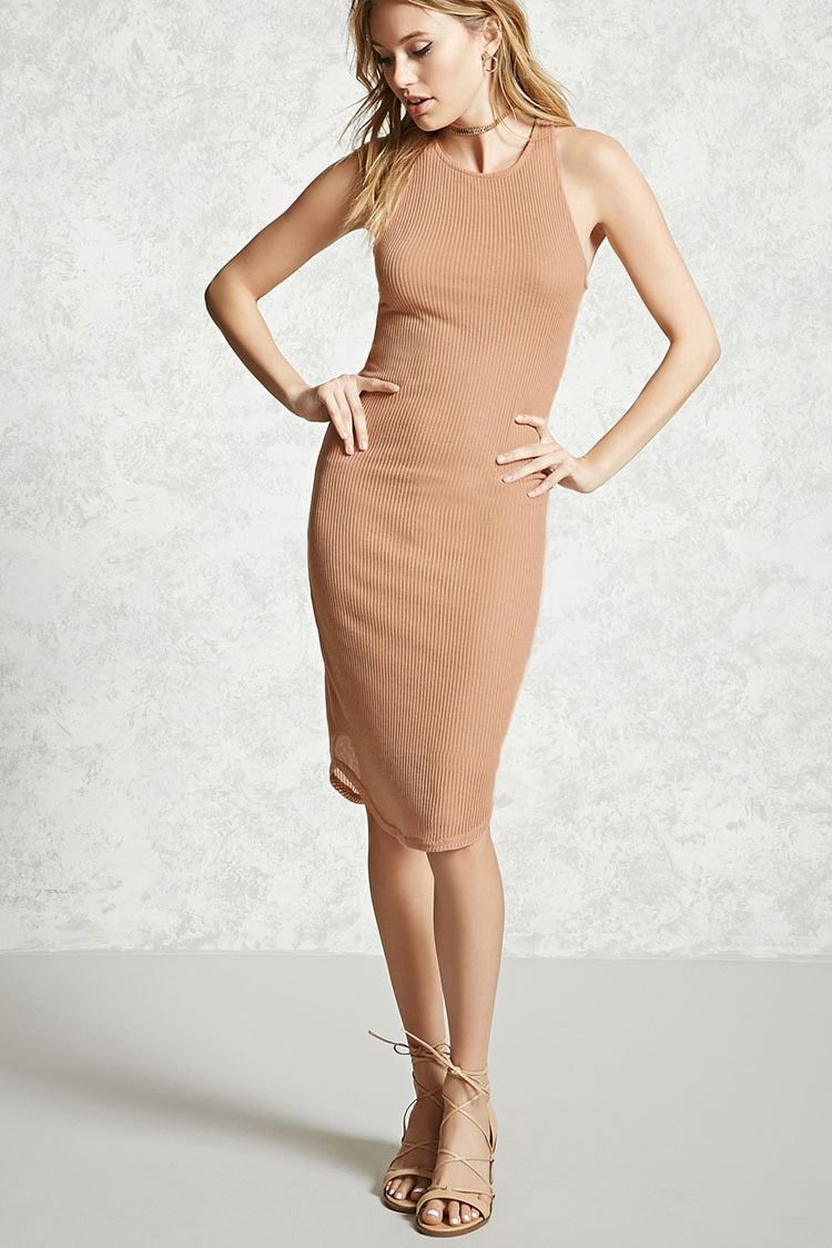 Forever 21 Contemporary A Ribbed Knit Bodycon Dress Featuring A High Neckline Racerback And A Sleeveless Fashion Clothes Women Dressy Outfits Bodycon Dress [ 1125 x 750 Pixel ]