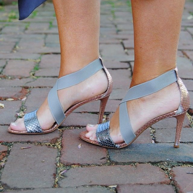 Be daring in these two-toned and snake-embossed Claudia Ciuti heels. Perfect for any special occasion this summer!