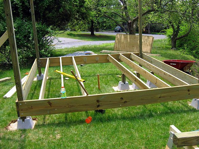 Floating deck blocks 4 let 39 s build pinterest Floating deck cinder blocks