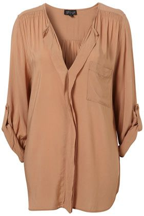turnback placket grandad shirt in camel