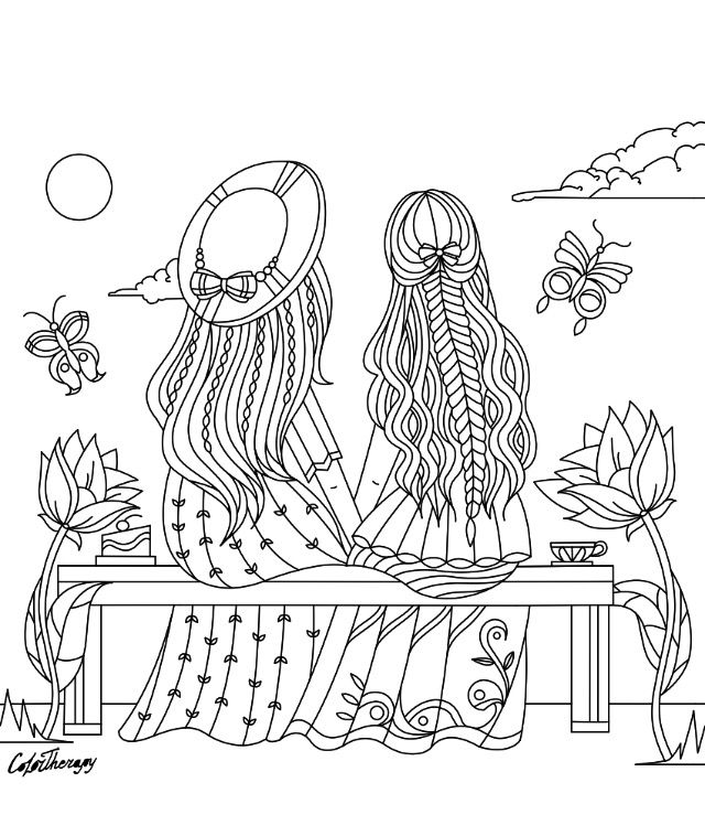 Girls Sitting On A Bench Coloring Page Color Therapy App