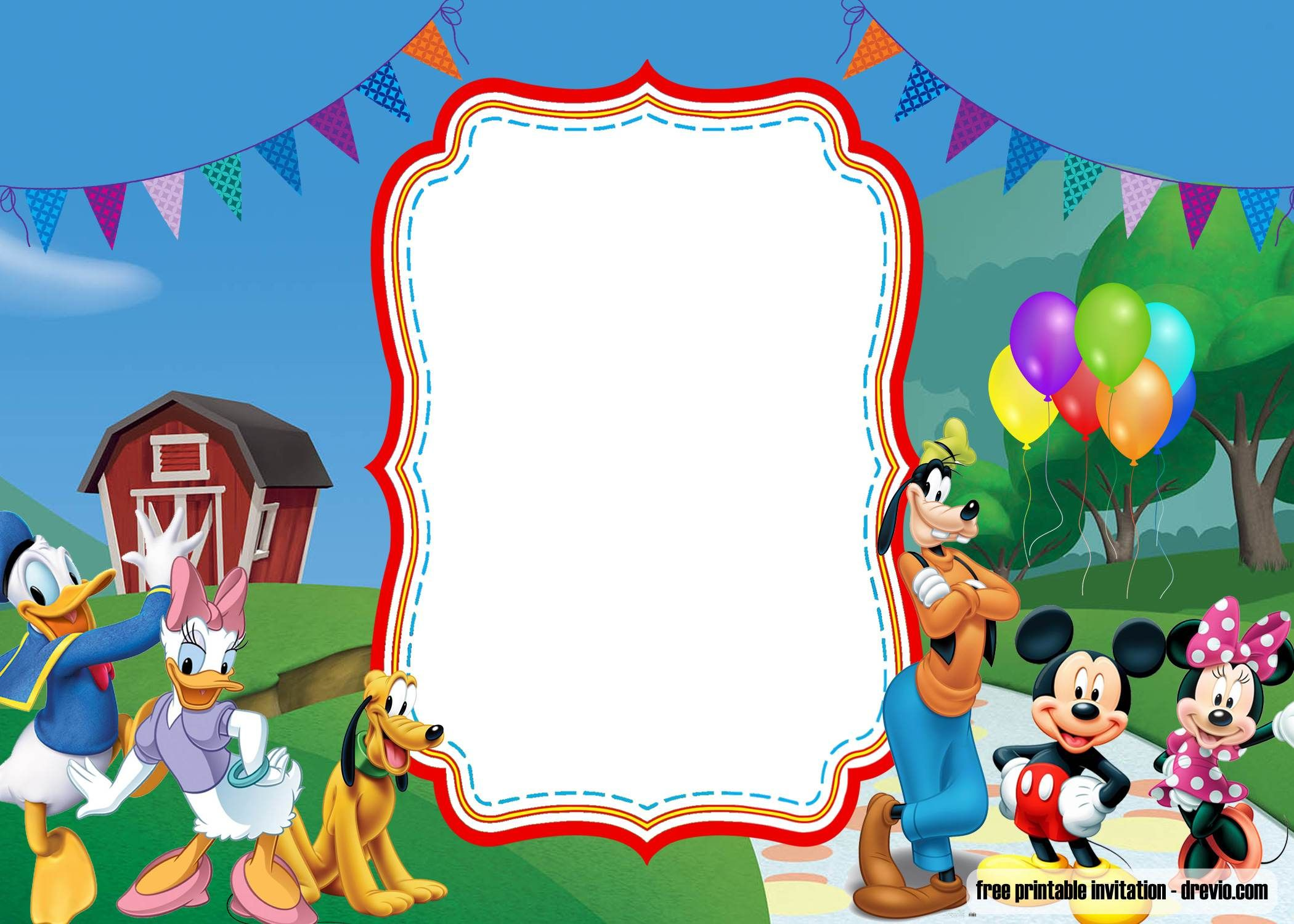 FREE Printable Mickey Mouse Luau invitation template  DREVIO in