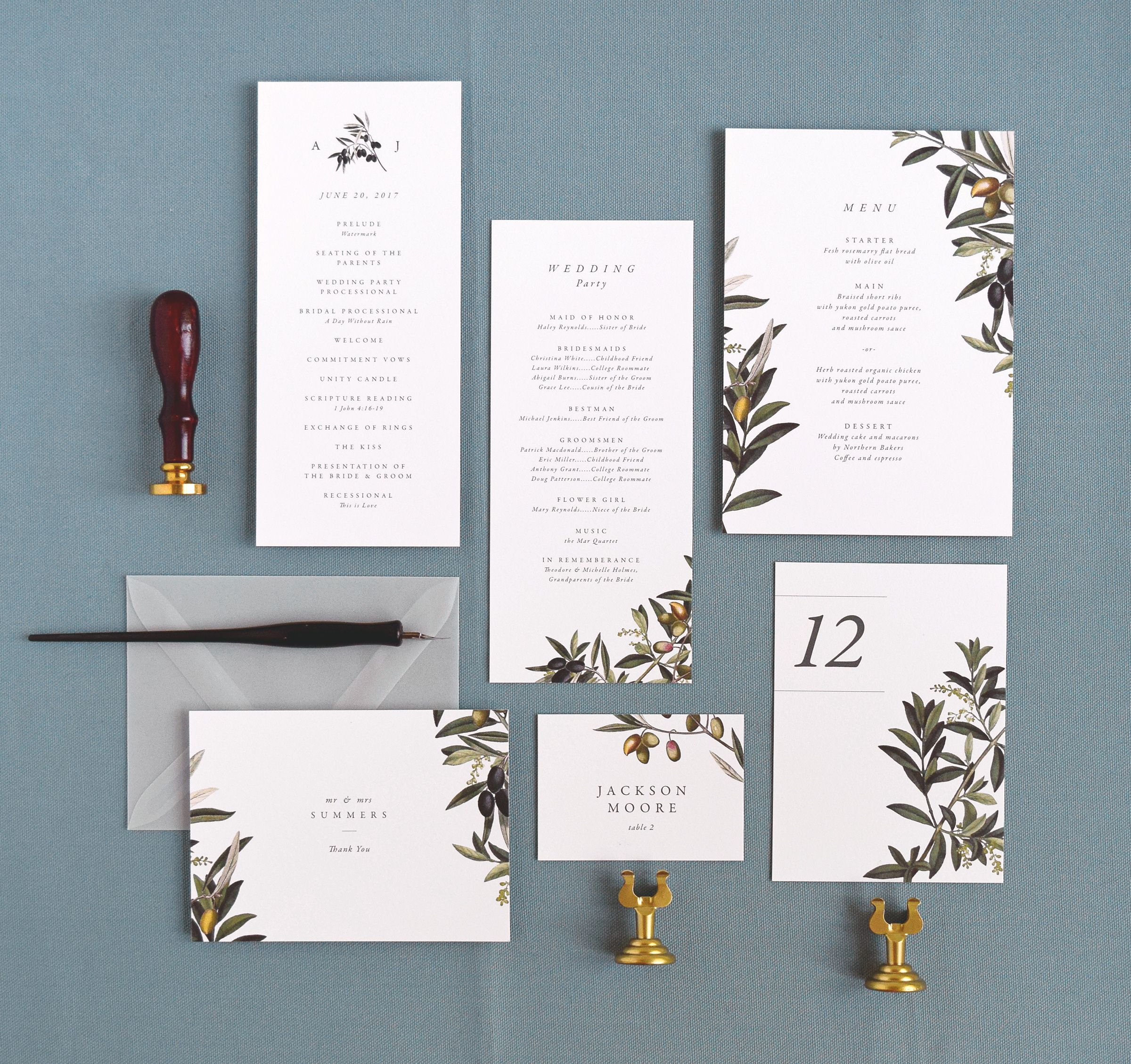 Olive Branch Wedding Program Menu Card Place Table Number And Thank You