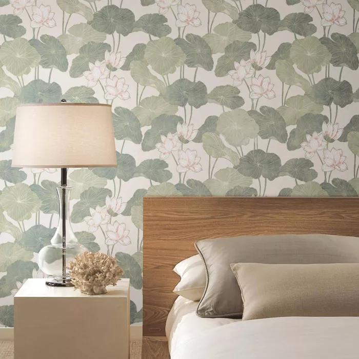 Roommates Lily Pads Peel Stick Wallpaper Cream Green Peel And Stick Wallpaper Aqua Lily Pad Lily Pads