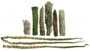 Smudge sticks & Sweetgrass (including really good explanatory info for each herb used in house blessing, etc.)