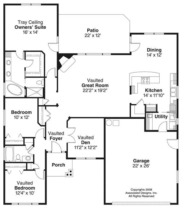 House Plans 1100 1400 Square Feet 3 Bedroom 1 Story 2 Car Garage Google Search