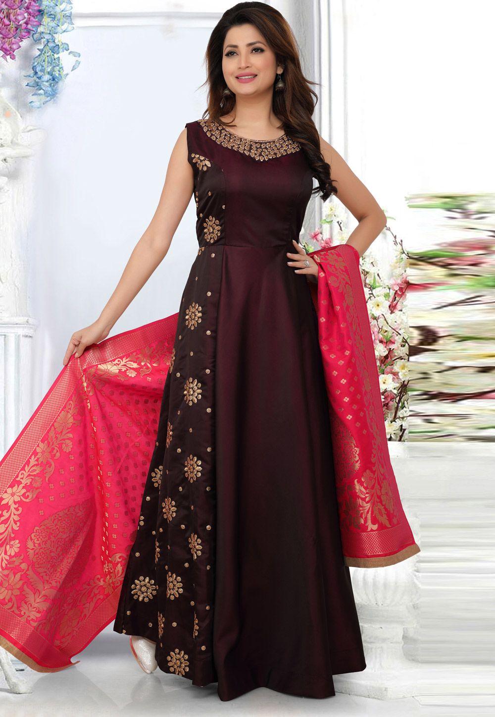 Wine Silk Readymade Long Anarkali Suit 156739 Long Anarkali Anarkali Suits Lehenga Designs
