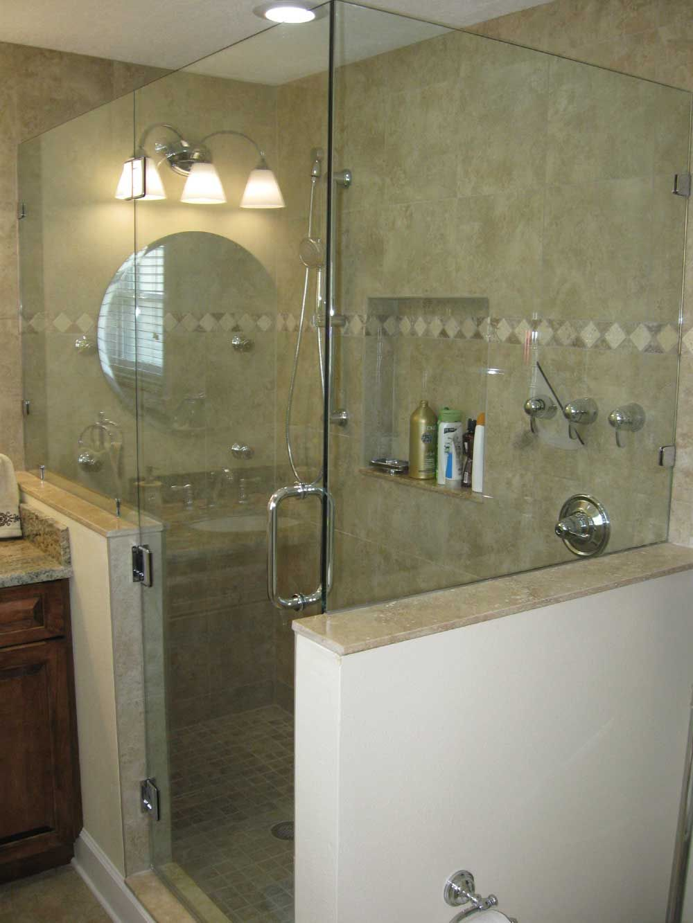 Master Bathroom Knee Wall glass shower doors frameless | frameless shower, door hinged off