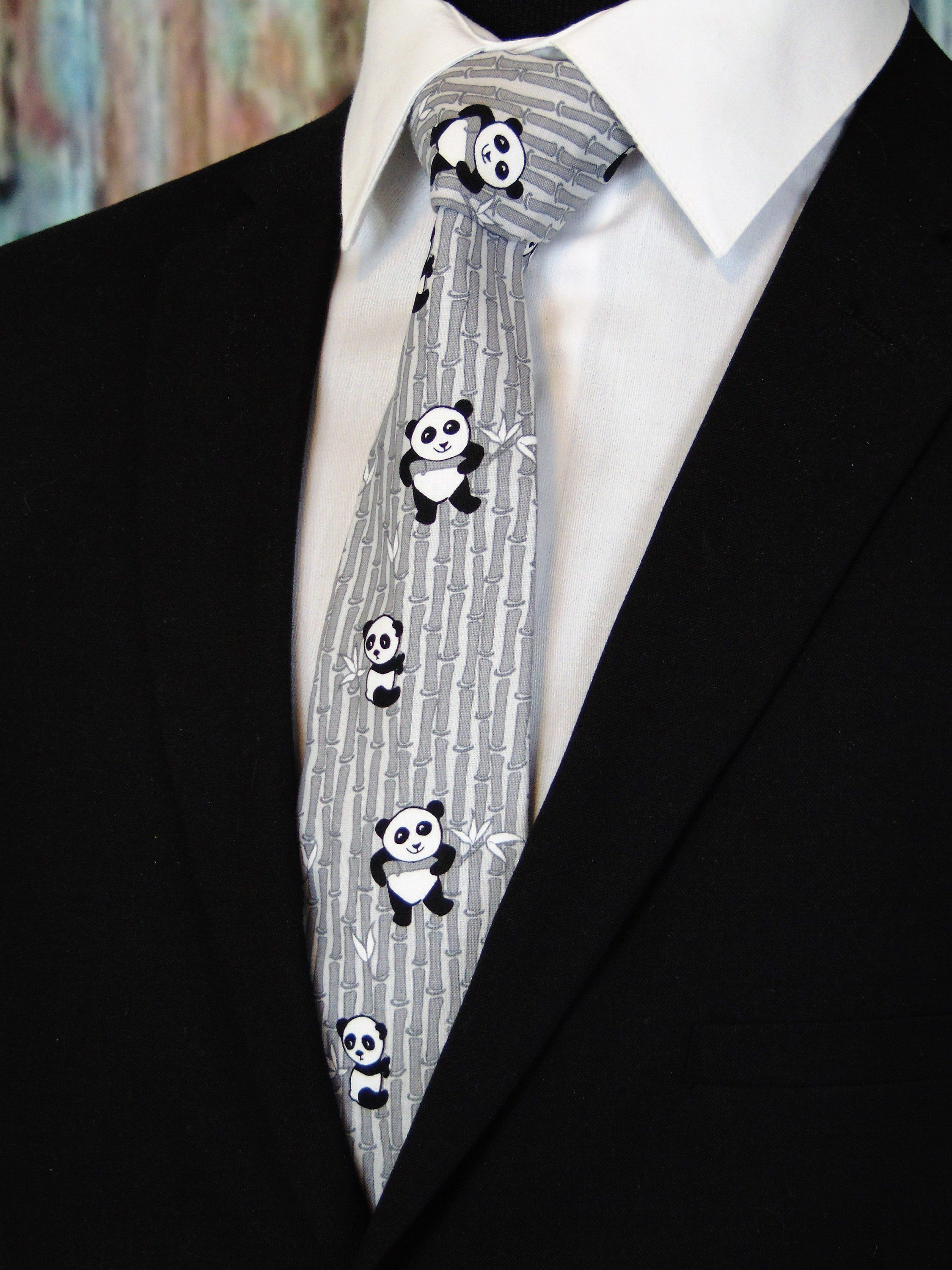 251016f800230 Panda Gifts – Panda Necktie with Black and White Small and Large Pandas. by  EdsNeckties on Etsy