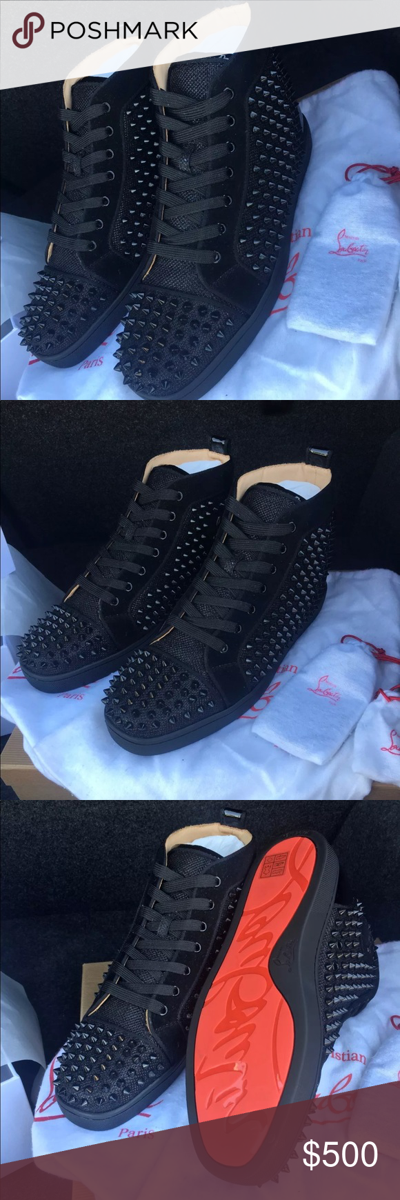 bb4d1f8ad426 Christian Louboutin Mens Sneakers Orlato Black Authentic men s louboutin  spike sneakers