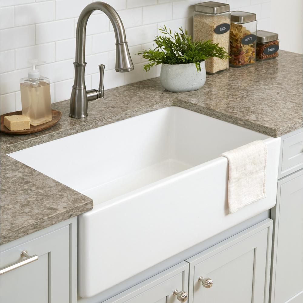 Sinkology Bradstreet Ii Farmhouse Apron Front Fireclay 30 In Single Bowl Kitchen Sink In Crisp White Sk499 30fc The Home Depot Farmhouse Sink Kitchen Single Bowl Kitchen Sink White Farmhouse Sink