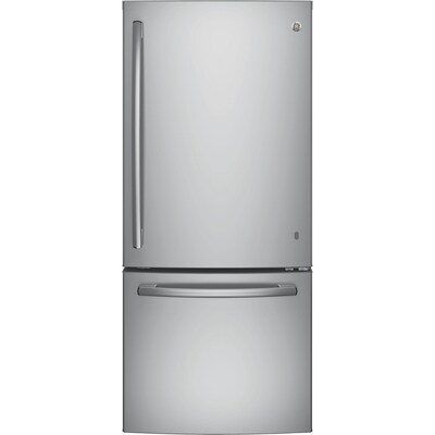 Ge 20 9 Cu Ft Bottom Freezer Refrigerator With Ice Maker Stainless Steel Energy Star At Lowes Com 2 In 2020 With Images Bottom Freezer Refrigerator Bottom Freezer Ice Maker