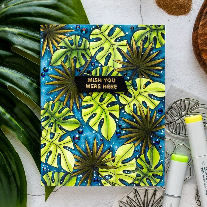 Tropical Pattern Cards with Pretty Pink Posh & Copic Markers. Video | Blog Hop & Giveaway