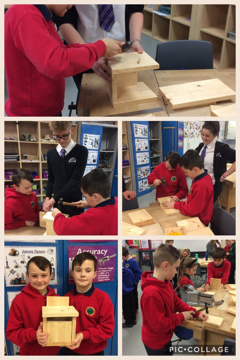 Nant y Moel primary making bird boxes - but using it as a brilliant team building / transition activity with ex-students now at the local comprehensive.