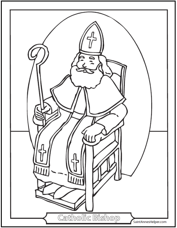 Bishop Miter Crozier Catholic Coloring Page Bishops Seat Or Throne