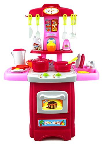 Fun Cook Pretend Play Childrens Toy Kitchen Cooking Playset W Toy