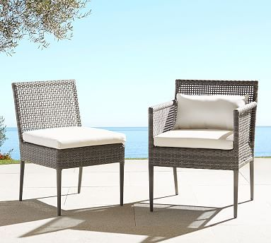 Pottery Barn   Cammeray All Weather Wicker Dining Arm Chair Is 22.75W X 25D