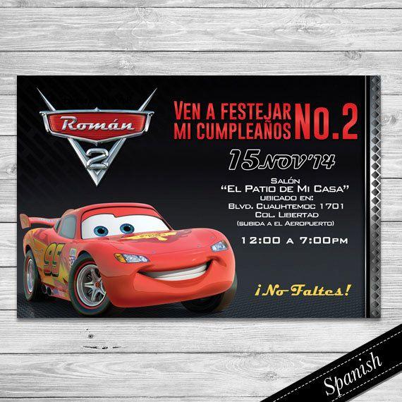 Cars Invitacion Cars Español Cars Invitation Spanish Lightning McQueen Rayo McQueen