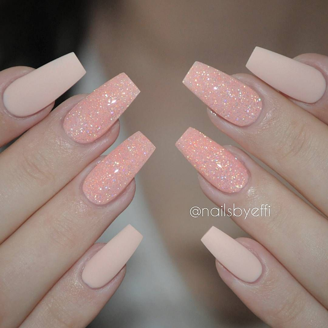 Blush + Peach glitter long tapered square tip nails #nail #nailart ...