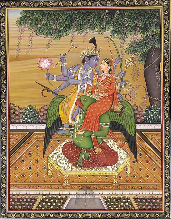 Vishnu with Lakshmi Seated on His u0027Vahanau0027 Garuda by Kailash Raj - invitation card format for satyanarayan pooja