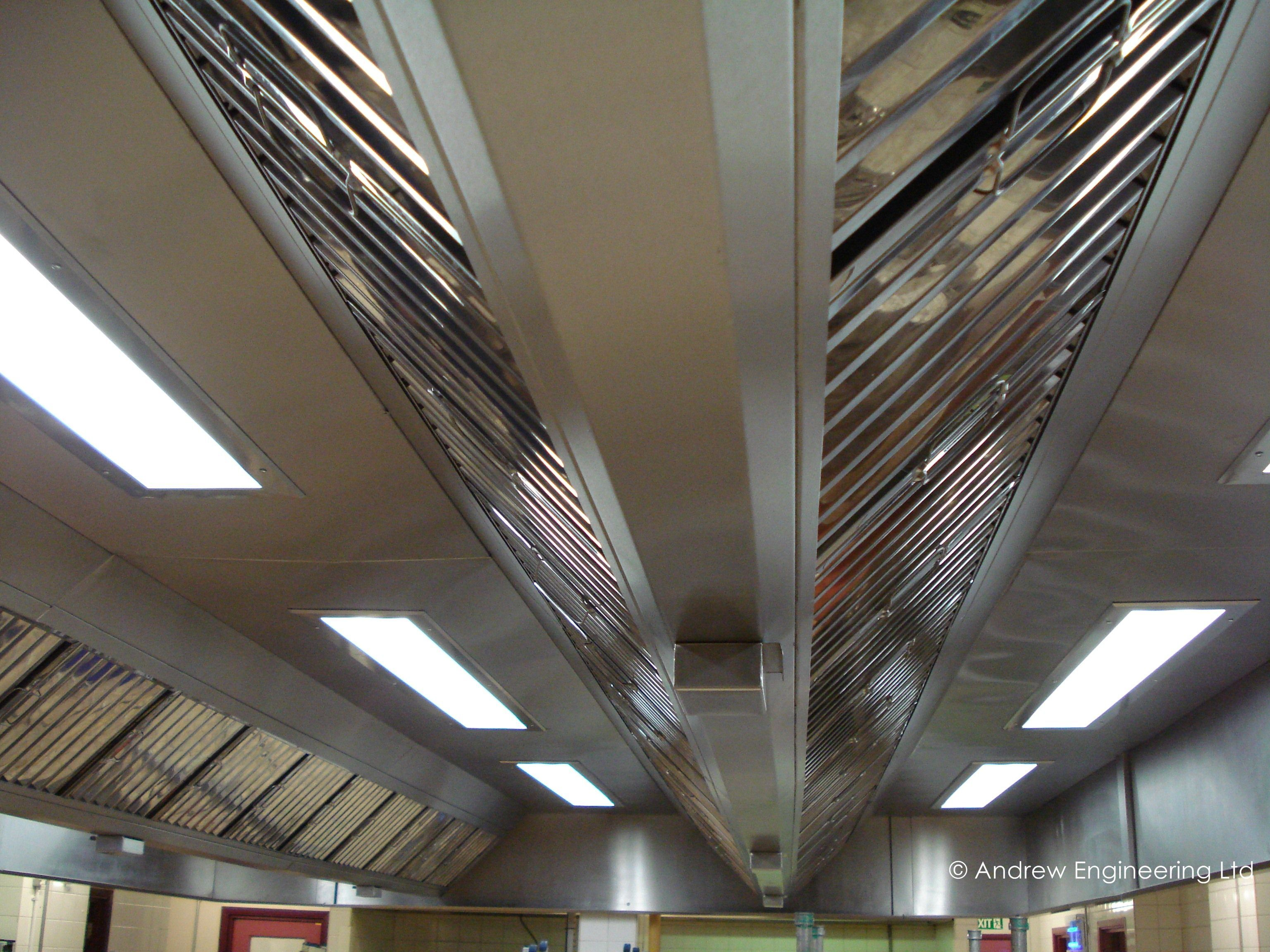 Island canopy with double bank of grease filters and recessed light fittings for a hospital kitchen & Island canopy with double bank of grease filters and recessed ...