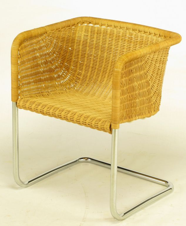 9cccb7dc4cede Ten Fabricius   Kastholm Chrome   Wicker Dining Chairs image 8 ...