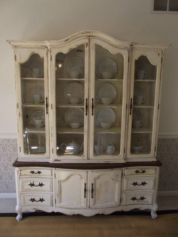 Bon Great Idea To Refinish A Dated China Cabinet. I Like The Dark Top On The