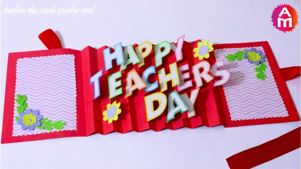 9 teachers day simple greeting card in 2020  teachers day