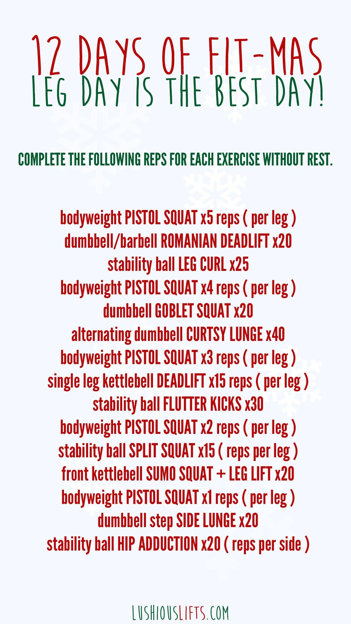 12 Days Of Fit Mas Workout Challenge Day 6 Leg Day Workout Challenge Legs Day Fitness
