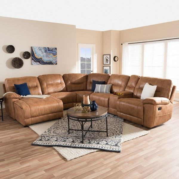 Baxton studio eukleides modern and contemporary light - Brown suede living room furniture ...