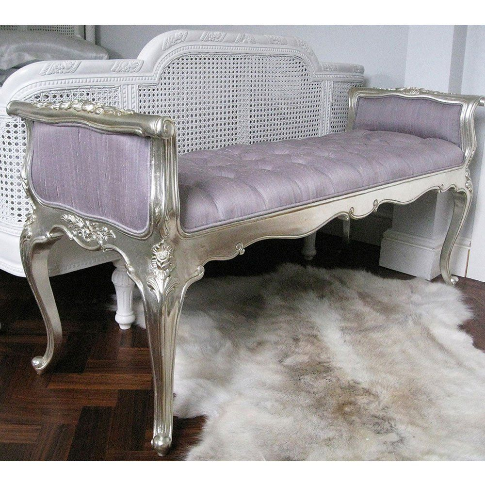 Silver Bedroom Chair Sylvia Silver And Lilac Silk Foot End Bench By The French Bedroom